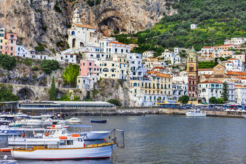 Italian holidays, view of pictorial Amalfi