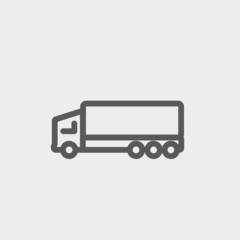 Trailer truck thin line icon