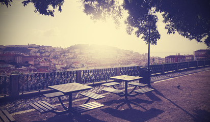 Vintage filtered picture of Lisbon viewpoint at sunset.