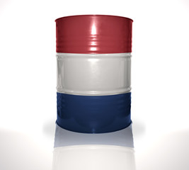 barrel with dutch flag on the white background