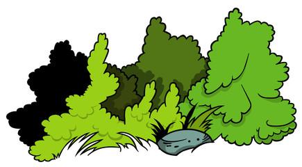 Shrubs and Boulder - Cartoon Illustration, Vector