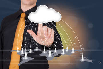 man pointing to a cloud connecting a global network