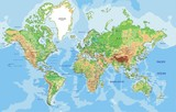 Highly detailed physical World map with labeling. - 82821165