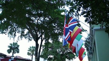 Flags from different countries hanging in street under trees