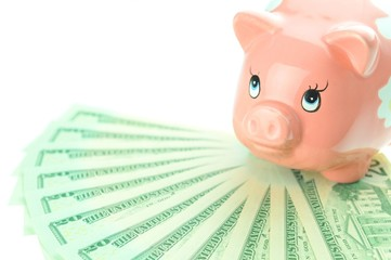Savings concept with pink piggy-bank and US dollars