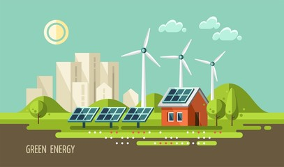 Green energy, urban landscape, ecology - vector illustration.