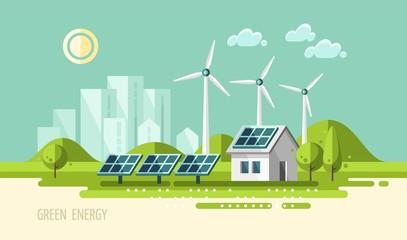 Green energy, urban landscape, ecology - vector illustration.