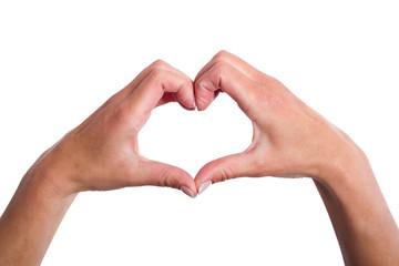 Herz mit der Hand geformt auf weißen Hintergrund