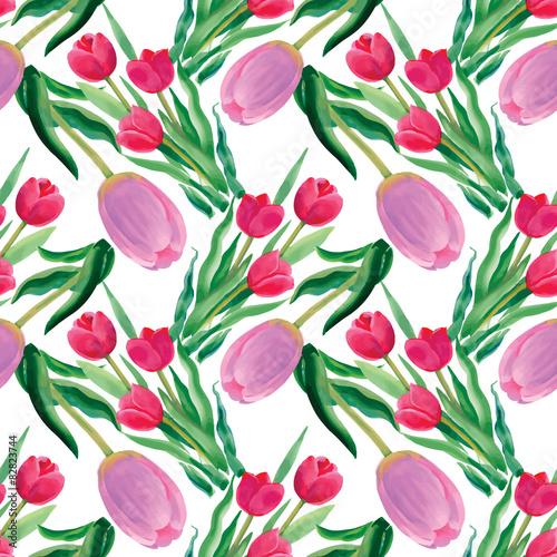 Fototapeta Watercolor illustration of Tulips flowers, seamless pattern