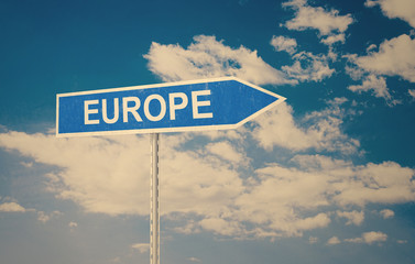 Europe Travel and Road Sign