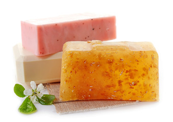 various natural soap bars