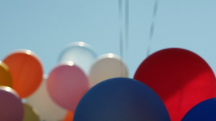 Festive balloons fastened together in 4K UHD.
