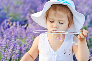 toddler girl in lavender field