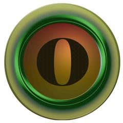Lettre O noire rond vert