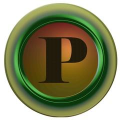Lettre P noire rond vert