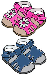 Hand drawing of two child´s sandals
