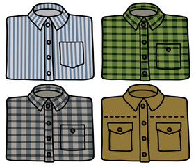 Hand drawing of four classic shirts