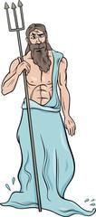 greek god poseidon cartoon illustration
