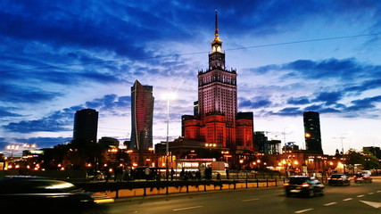 Warsaw street and road with Palace of culture and science