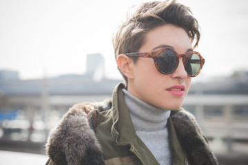 young beautiful short hair hipster woman