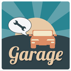 garage illustration over color backround