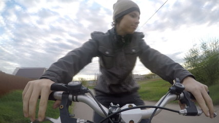 bike ride, the view from the handlebar, extreme camera