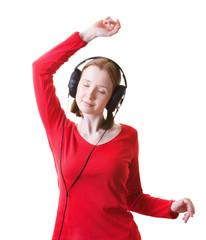 Dancing woman in headphones