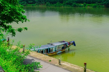 boat station at Perfume River (Song Huong) near Thien Mu pagoda