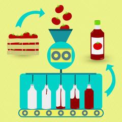 Ketchup fabrication process. Ketchup series production.