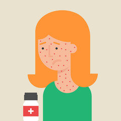 Illustration of a woman with allergy, flat style