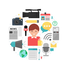 Mass media and journalism abstract flat style vector illustratio