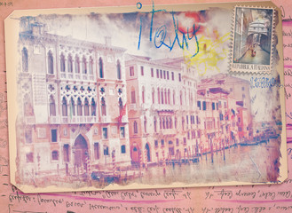 Old fashioned postcard of Venice-Italy