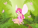 Cute fairy into magic forest