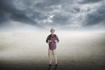 Traveler trekking in the desert