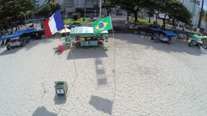 Kiosk beach with Brazil and France flag in Rio de Janeiro Beach