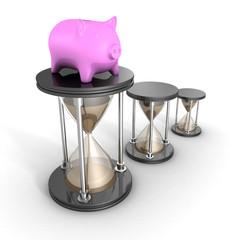 Piggy Bank White Hour Sandglasses. Time Is Money Concept