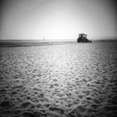 Plowing the beach.
