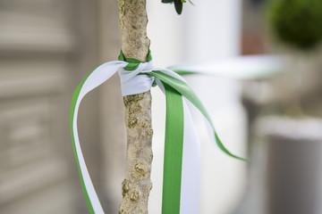 Einweihung und Eröffnung mit Band an einem Baum