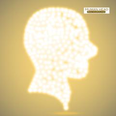 Neon human head. Vector illustration. Eps 10