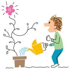 花を咲かせた男性