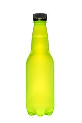 plastic bottle for beverage on white isolated background with cl