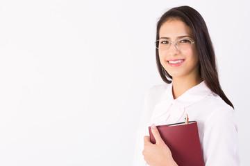 ノートを持ったハーフ女性
