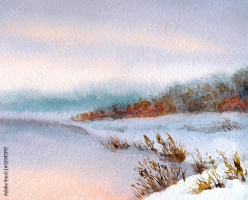 Fototapeta Watercolor winter landscape. Evening sky over river