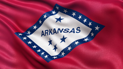 US state flag of Arkansas waving in the wind