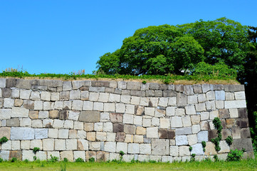 Castle wall in the Nagoya Castle Grounds