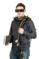man with glasses and wires and standing isolated on white backgr