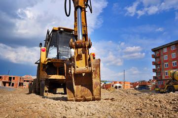 Bulldozer excavator on a construction site