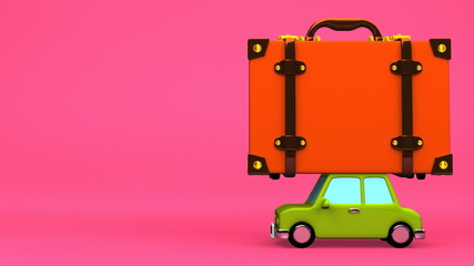 Big Travel Luggage And Car On Pink Text Space