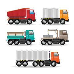 Vector modern creative flat design logistics fleet vehicles set
