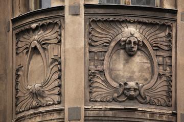 Floral ornamental decoration on the Art Nouveau building